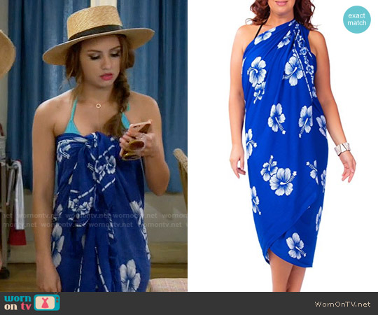 1 World Sarongs Hibiscus Flower Fringeless Swimsuit Sarongs worn by Aimee Carrero on Young & Hungry