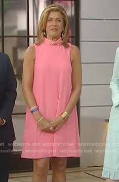 Hoda's pink mock neck dress on Today