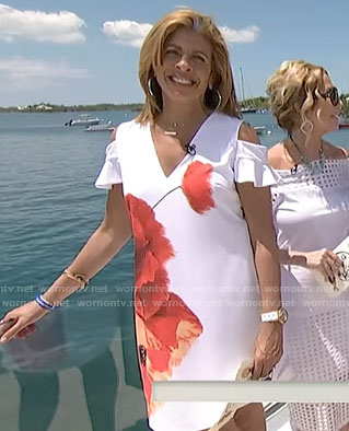 Hoda's white poppy printed cold-shoulder dress on Today
