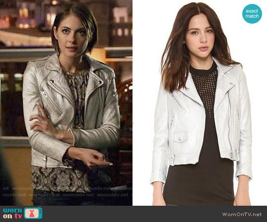 IRO Ebya Metallic Leather Jacket worn by Thea Queen on Arrow