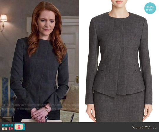 BOSS Jadela Asymmetric Wool Jacket worn by Abby Whelan (Darby Stanchfield) on Scandal