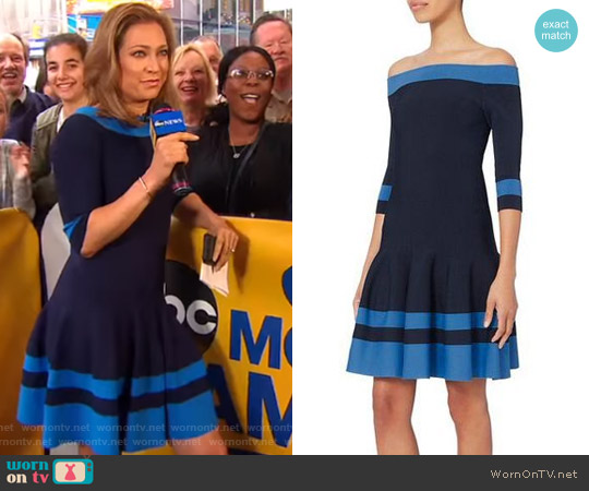 Off Shoulder Flare Dress by Jonathan Simkhai worn by Ginger Zee  on Good Morning America