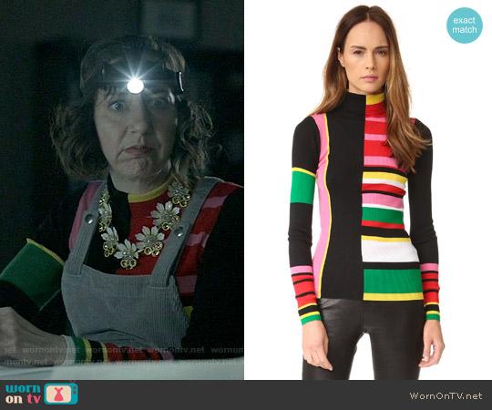 Kenzo Ribbed Colorblock Sweater worn by Carol Pilbasian (Kristen Schaal) on Last Man On Earth