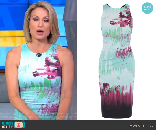 Brushstroke Stretch Pencil Dress by Karen Millen worn by Amy Robach  on Good Morning America