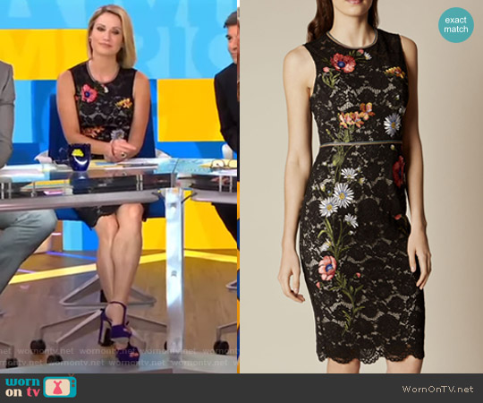 Lace Embroidered Pencil Dress by Karen Millen worn by Amy Robach on Good Morning America