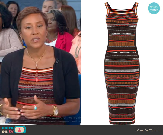 Texture Stripe Knit Dress by Karen Millen worn by Robin Roberts on Good Morning America