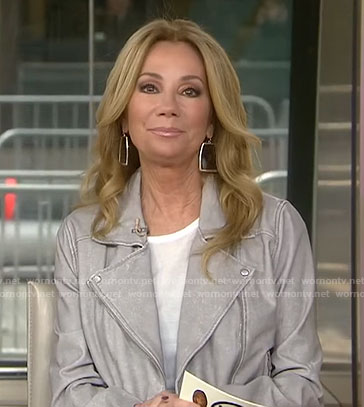 Kathie's grey moto jacket on Today