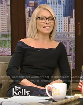 Kelly's black lace trimmed sheath dress on Live With Kelly