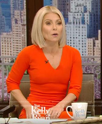 Kelly's orange v-neck dress on Live With Kelly