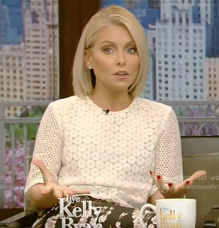 Kelly's white lace cropped top on Live With Kelly