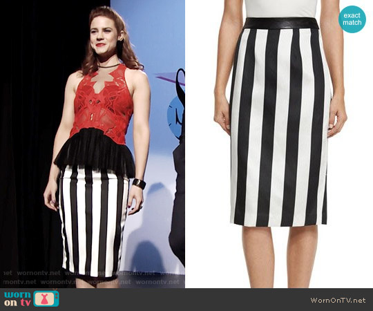 Kendall + Kylie Striped Leather-Trim Pencil Skirt worn by Sally Spectra on The Bold & the Beautiful