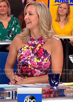 Lara's white floral cross neck dress on Good Morning America