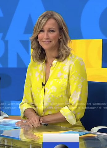 Lara's yellow floral blouse on Good Morning America