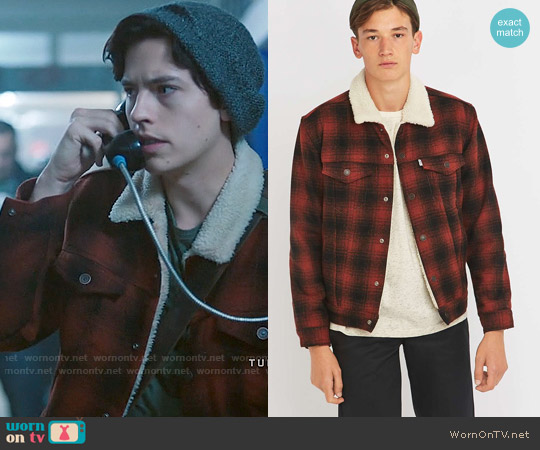 Levi's Burnt Orange Plaid Sherpa Jacket worn by Cole Sprouse on Riverdale