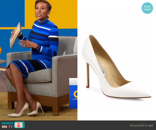 BB Point Toe Pumps by Manolo Blahnik worn by Robin Roberts on Good Morning America