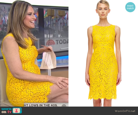 Lace Sheath Dress by Michael Kors worn by Savannah Guthrie on Today