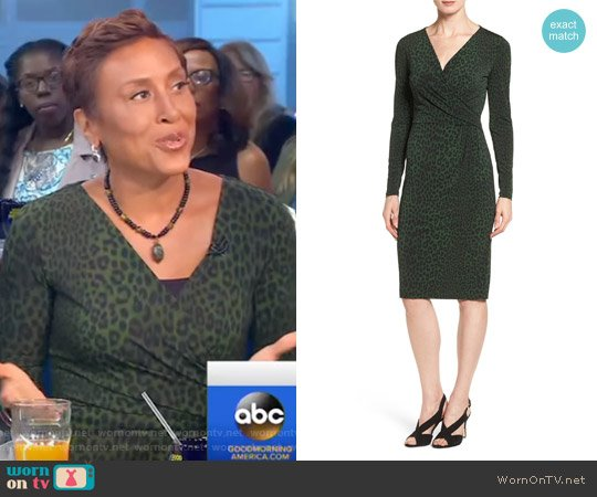 'Panther' Print Faux Wrap Jersey Dress by Michael Kors worn by Robin Roberts  on Good Morning America