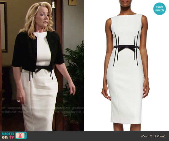 Michael Kors Sleeveless Sheath Dress w/Bow Belt worn by Nikki Reed Newman (Melody Thomas-Scott) on The Young & the Restless