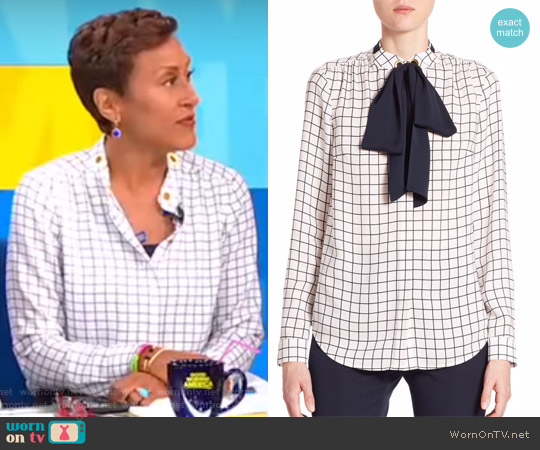 Windowpane Silk Tie-Neck Blouse by Michael Kors worn by Robin Roberts  on Good Morning America
