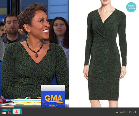 'Panther' Print Faux Wrap Jersey Dress by MICHAEL Michael Kors worn by Robin Roberts on Good Morning America