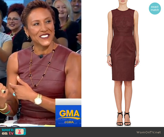 Leather Sleeveless Sheath Dress by Narciso Rodriguez worn by Robin Roberts on Good Morning America