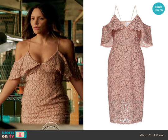 Nicholas Basque Lace Off the Shoulder Dress worn by Paige Dineen (Katharine McPhee) on Scorpion