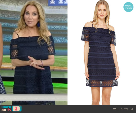 Off Shoulder Lace Shift Dress by Tahari ASL worn by Kathie Lee Gifford on Today