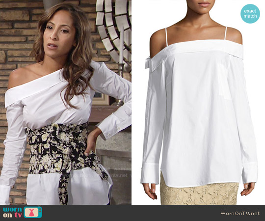 Robert Rodriguez Off-the-Shoulder Poplin Top worn by Christel Khalil on The Young & the Restless