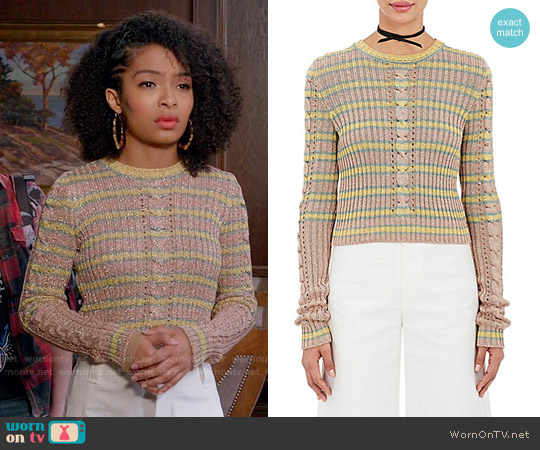 Philosophy di Lorenzo Serafini Metallic striped cable-knit sweater worn by Yara Shahidi on Blackish