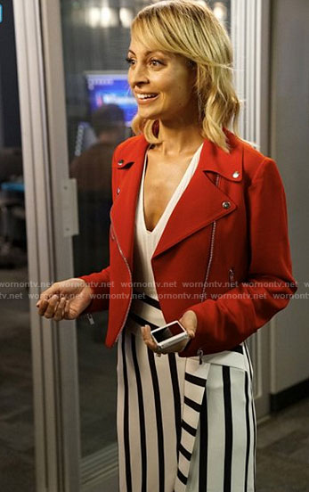 Portia's red moto jacket and striped skirt on Great News