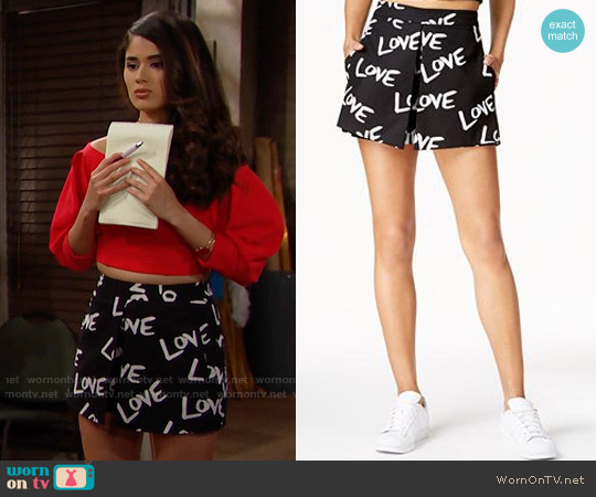 RACHEL Rachel Roy Love Graphic Skort worn by Darlita on The Bold & the Beautiful
