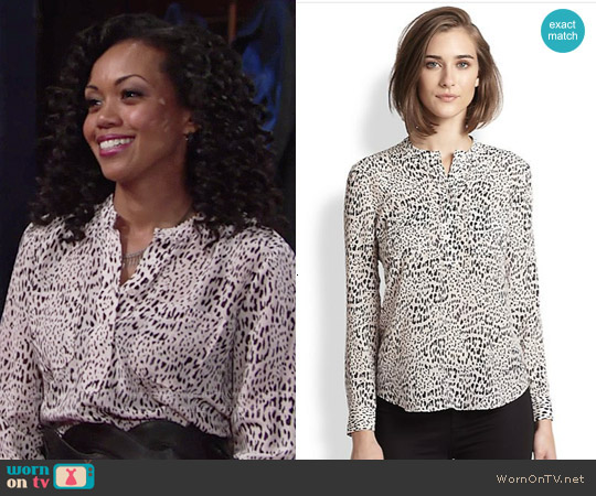 Rebecca Taylor Silk Leopard-Print Blouse worn by Mishael Morgan on The Young & the Restless