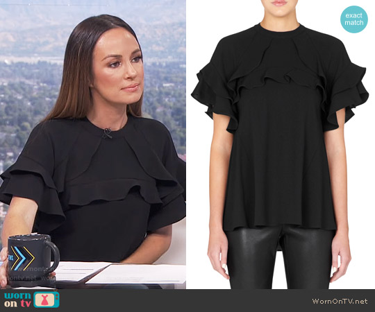 Rebecca Vallance El Chino Flare Sleeve Raglan Top worn by Catt Sadler on E! News