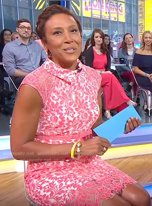 Robin's pink lace dress on Good Morning America