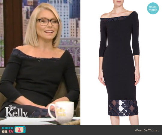 Asymmetric Off-Shoulder Dress by Roland Mouret worn by Kelly Ripa on Live with Kelly & Ryan