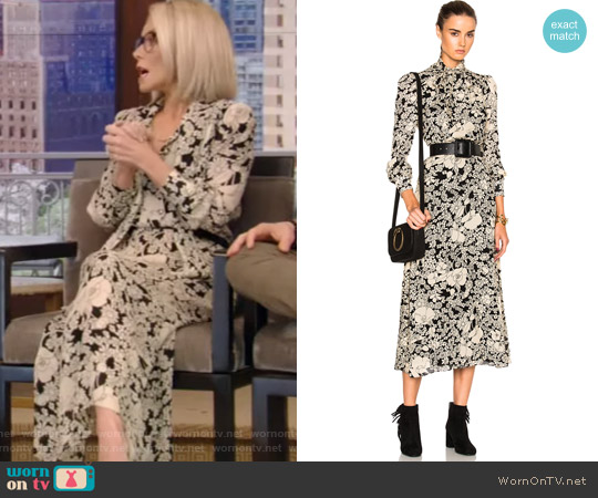70s Floral Long Dress by Saint Laurent worn by Kelly Ripa on Live with Kelly & Ryan