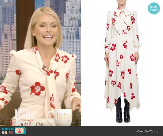 Embellished Hibiscus-Print Midi Dress by Saint Laurent worn by Kelly Ripa  on Live with Kelly & Ryan