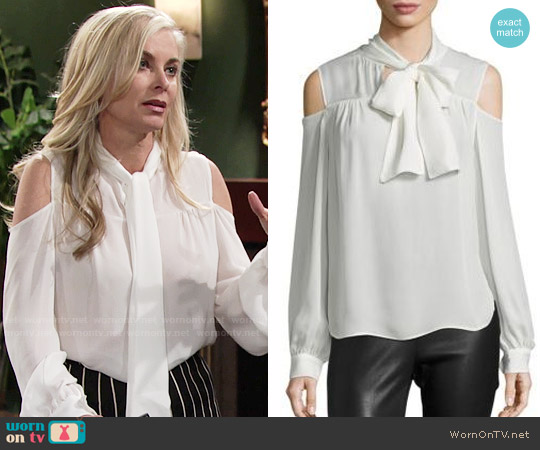 Saks Fifth Avenue Collection Silk Cold-Shoulder Tie-Neck Blouse worn by Eileen Davidson on The Young & the Restless