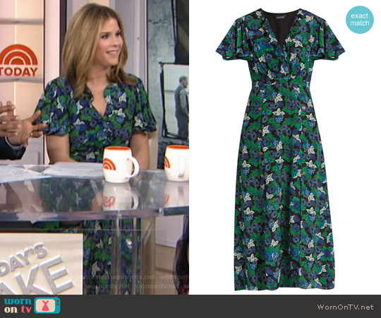 Josee floral-print silk midi dress by Saloni worn by Jenna Bush Hager on Today