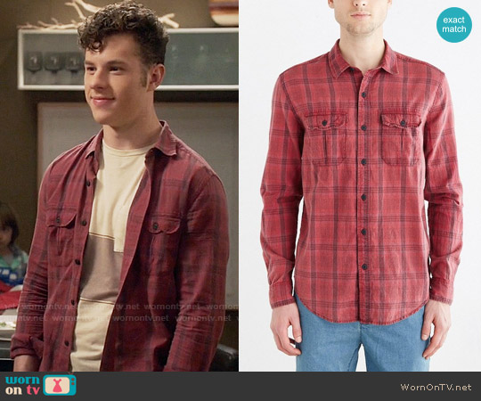Salt Valley Acid Washed Plaid Button-Down Workshirt in Red worn by Luke Dunphy (Nolan Gould) on Modern Family