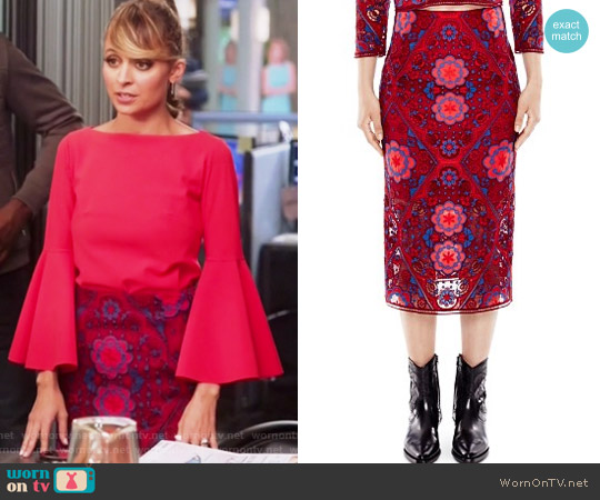 Calla Medallion Lace Midi Skirt by Sandro worn by Portia Scott-Griffith on Great News