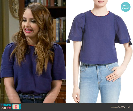 Sea Stitched Top worn by Aimee Carrero on Young & Hungry