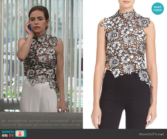 Self Portrait Lily Top worn by Victoria Newman (Amelia Heinle) on The Young & the Restless