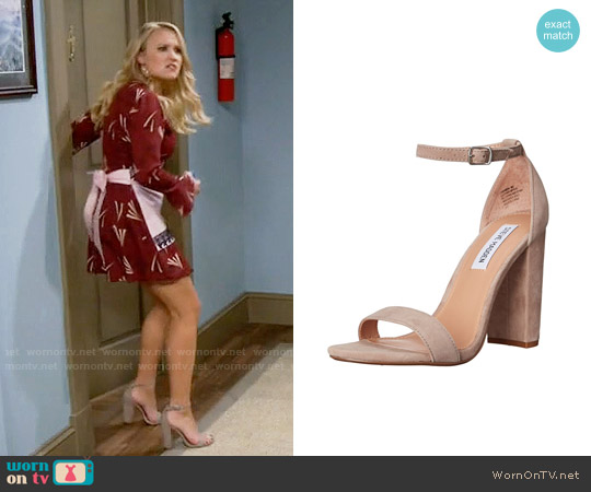 Steve Madden Carrson Sandal in Taupe Suede worn by Gabi Diamond on Young & Hungry