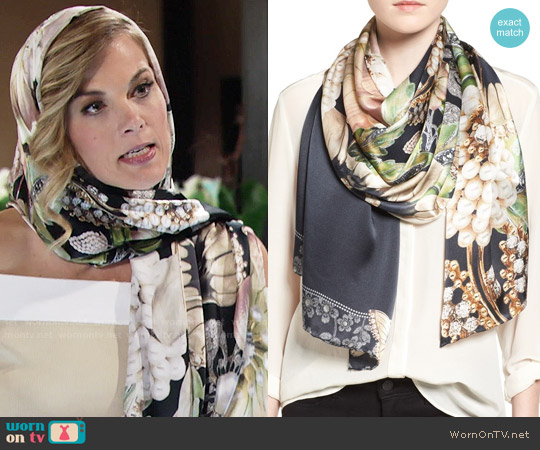 Ted Baker Gem Gardens Silk Scarf worn by Phyllis Newman (Gina Tognoni) on The Young & the Restless