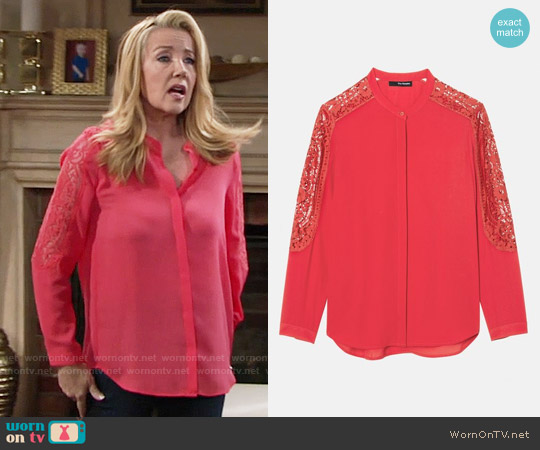 The Kooples Lace Inset Crepe Shirt worn by Nikki Reed Newman (Melody Thomas-Scott) on The Young & the Restless