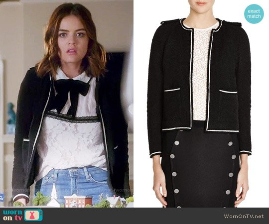 The Kooples Textured Contrast Trim Jacket worn by Aria Montgomery (Lucy Hale) on PLL