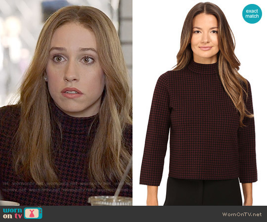 Theory Harmona JH Evian Houndstooth Sweater worn by Sarah Sutherland on Veep