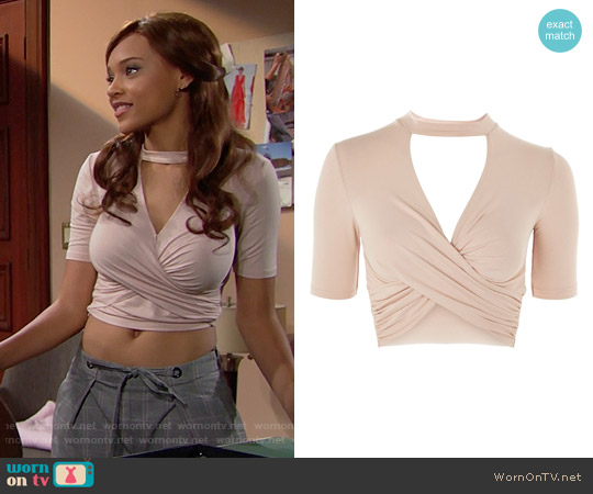 Topshop Choker Short Sleeve Wrap Crop Top worn by Nicole Avant (Reign Edwards) on The Bold & the Beautiful