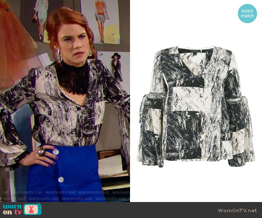 Topshop Graphic Print Blouse worn by Courtney Hope on The Bold & the Beautiful